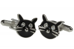Black Cats Face Cufflinks